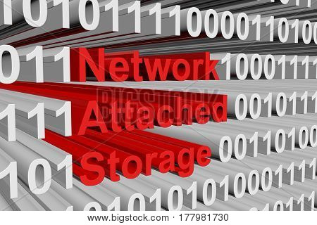 Network Attached Storage is presented in the form of binary code 3d illustration