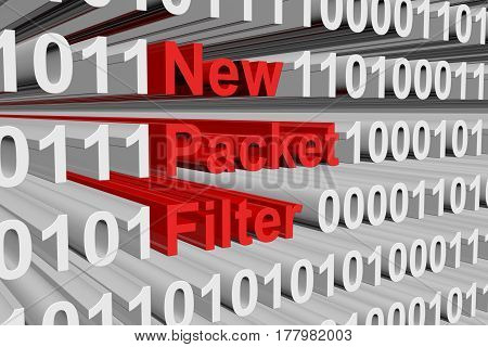 New Packet Filter in binary code 3d illustration