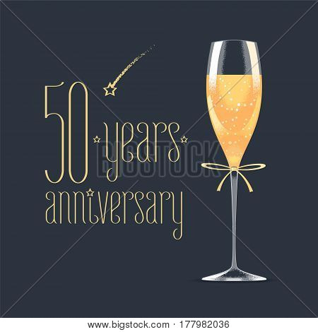 50 years anniversary vector icon logo. Graphic design element with golden lettering and glass of champagne for 50th anniversary greeting card or banner