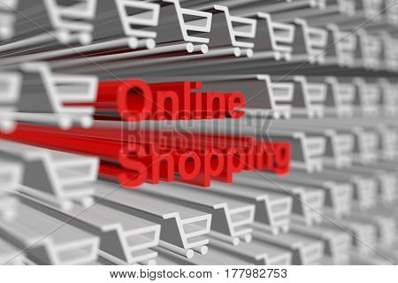 online shopping presents in the form of a binary code with blurred background 3d illustration