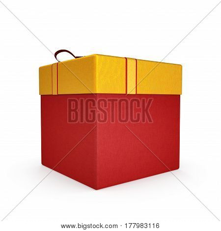 Red present box with bow isolated on white background. 3D illustration