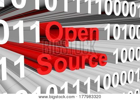 Open source is represented as a binary code 3d illustration
