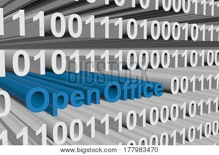 OpenOffice as a binary code 3D illustration