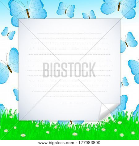 Colorful vector background with grass blue butterflies flowers with place for your text. Template for banner greeting card invitation.