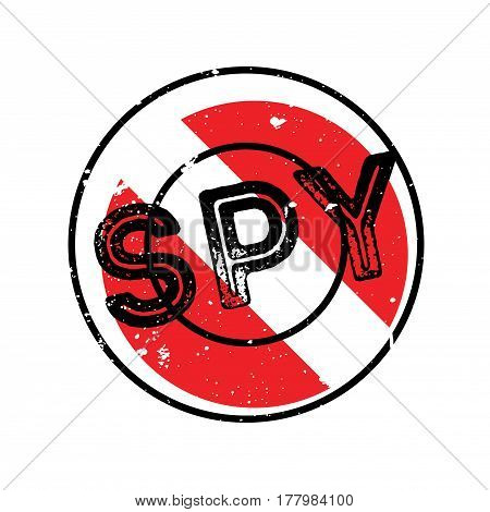 Spy rubber stamp. Grunge design with dust scratches. Effects can be easily removed for a clean, crisp look. Color is easily changed.