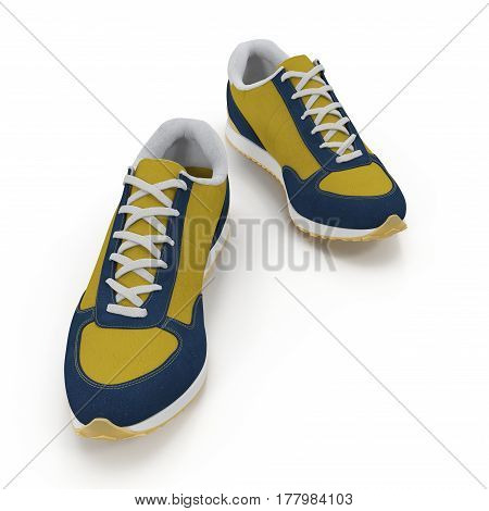 New unbranded running shoe, sneaker or trainer isolated on white background. 3D illustration