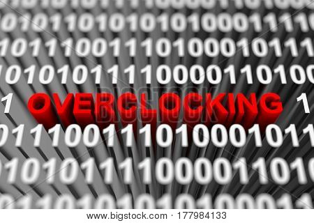 Overclocking in the form of a binary code with blurred background 3d illustration