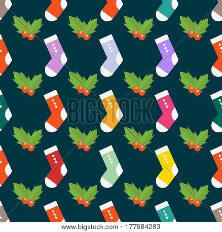 Flat design colorful socks selection of various foot warm cloth textile fabric pair and cute red berries decoration wool winter sport season vector illustration. Fashion nature background.