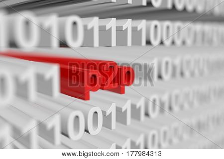 p2p is presented in the form of a binary code with blurred background 3d illustration
