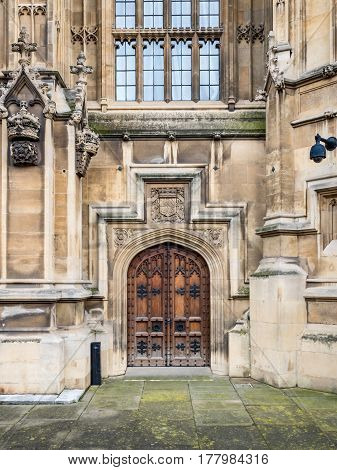 A small side door leading into the Palace of Westminster the home of UK politics and government.
