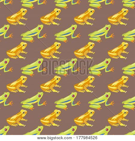 Frog cartoon tropical animal cartoon nature seamless pattern funny and isolated mascot character wild funny forest toad amphibian vector illustration. Graphic ecosystem croaking hop drawin.