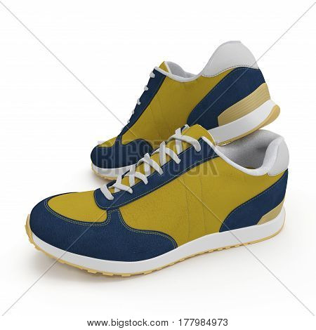 Convenient for sports mens sneakers in dark blue thick fabric. Presented on a white background. 3D illustration