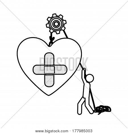 Silhouette worker with pulley holding heart band aid in cross form vector illustration