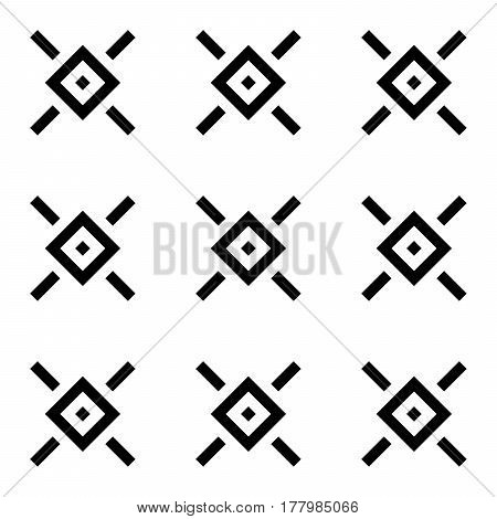 Abstract rhombus seamless pattern in diagonal arrangement. Retro design vector background. Black ornaments isolated on white background.
