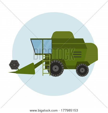 Agriculture industrial farm equipment machinery green tractor combine and rural machinery corn car harvesting wheel vector illustration. Autumn farmland heavy industry transportation.