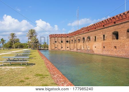 Fort Jefferson and its moat of sea water at Dry Tortugas National Park, Florida, United States. The Dry Tortugas are a small group of islands, located in Gulf of Mexico at the end of the Florida Keys.
