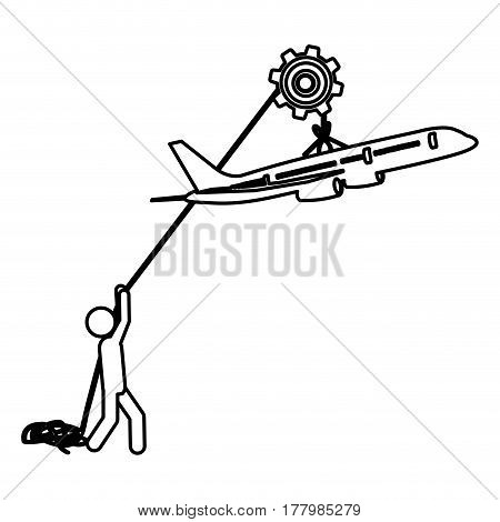 silhouette worker with pulley holding small figure airplane vector illustration