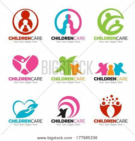 Children care and family care logo vector set design