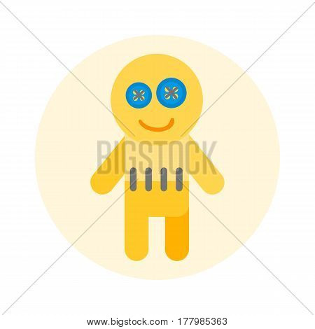 Rag handmade doll funny happy yarn yellow craft cute gift decoration object and handicraft handwork soft souvenir vector illustration. Crochet homemade knit model hobby puppet toy.
