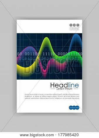 A4 glowing diagram book cover design with colourful waves and numbers on black background. Good for annual report conference journal book banner flyer business report. Vector.