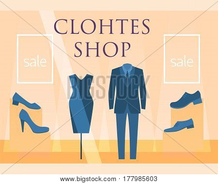 Flat design restaurant clothes shop facade icon store modern awning architecture window exterior and market front urban business house vector illustration. Supermarket kiosk real estate.