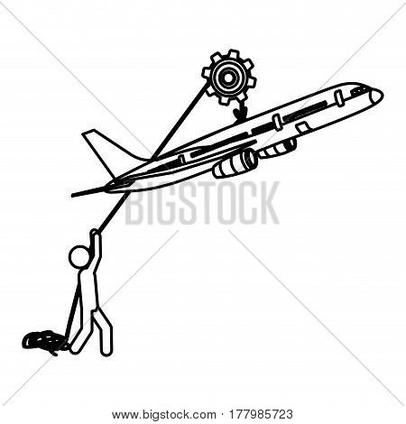 silhouette worker with pulley holding travel airplane vector illustration