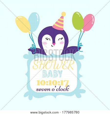 Baby shower badge happy mothers day insignias logotype penguin sticker stamp icon frame and card design doodle vintage hand drawn element vector illustration. Childhood banner greeting announcement.