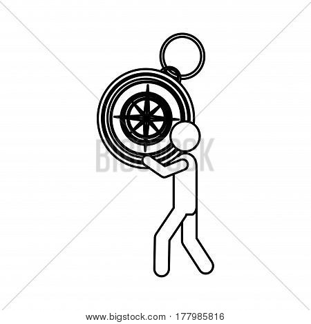 silhouette worker holding up compass of hand vector illustration