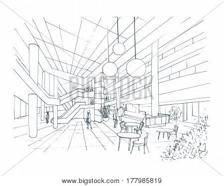 Modern interior shopping center, mall, Contour sketch illustration with food court.