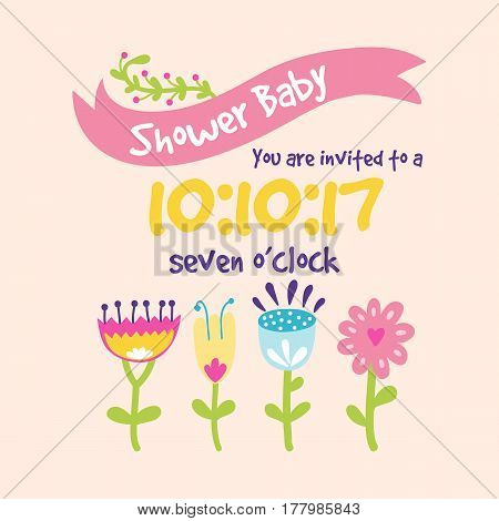 Baby shower badge happy mothers day insignias logotype sticker stamp icon frame and card design doodle vintage hand drawn element vector illustration. Childhood banner greeting announcement.