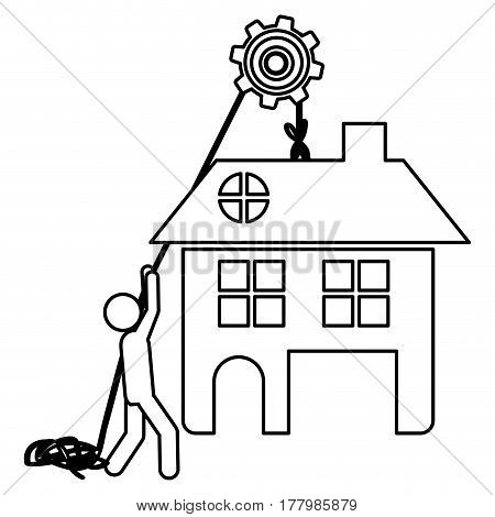 Silhouette workers with pulley holding big house with two floors vector illustration