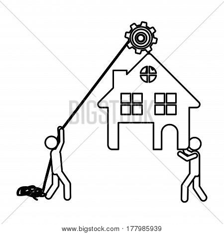 Silhouette workers with pulley holding small house with two floors vector illustration