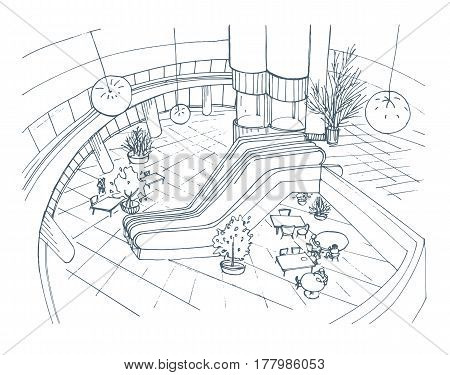Modern interior shopping center, mall, Top view. Contour sketch illustration