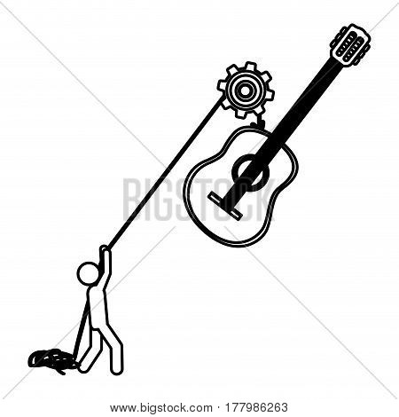 silhouette worker with pulley holding acoustic guitar musical vector illustration