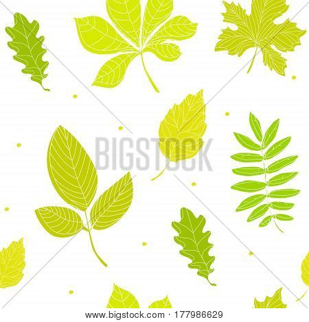 Summer pattern with color leaves. Ornament for textile and wrapping. Vector illustration.