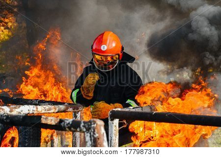 In to the fire a Firefighter searches for possible survivors