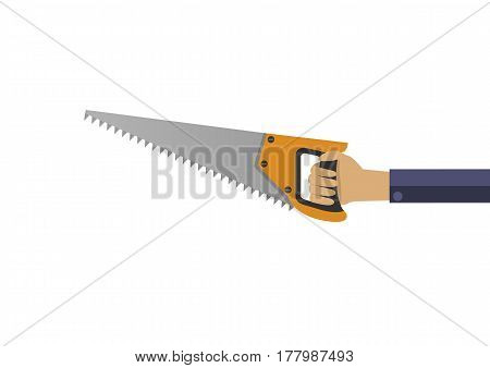 Hand with saw isolated over white background