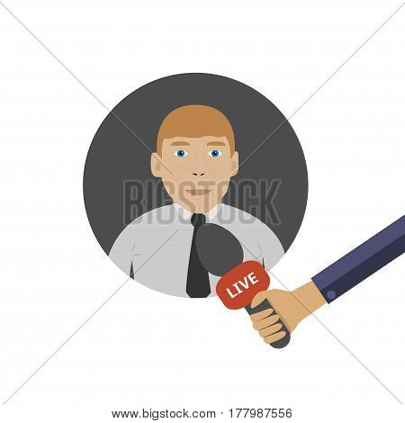 Live interview with famous person. Live news concept