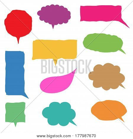 Colorful handwritten speech bubble set. Vector illustration