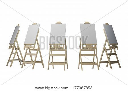group easels isolated on white. 3d rendering