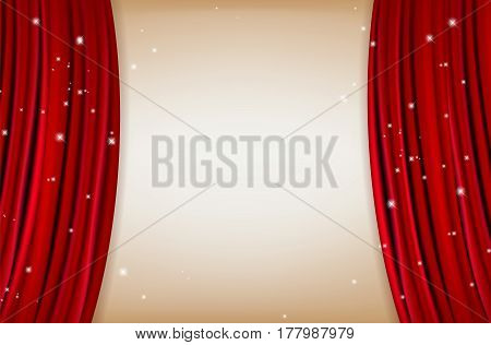 Red curtain with shining little stars and copy space for your text - vector illustration
