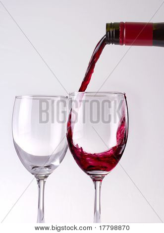 Red wine and win glasses