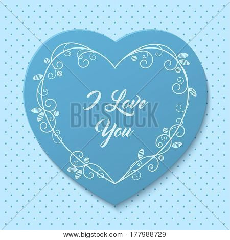 Romantic greeting card with floral stylized heart-shaped frame. Vector Illustration