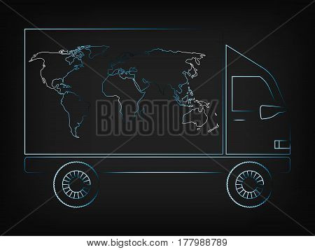 World Map Truck Worldwide Delivery Vector