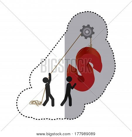 sticker colorful workers with pulley holding word S vector illustration