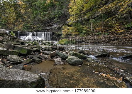 Beautiful autumn scene at The Great Falls of Tinker's Creek Gorge in Cleveland Ohio.