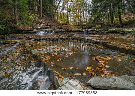 Beautiful autumn scene at Bridal Veil Falls in the Cuyahoga Valley National Park near Cleveland Ohio.