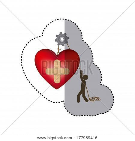 sticker colorful worker with pulley holding heart band aid in cross form vector illustration