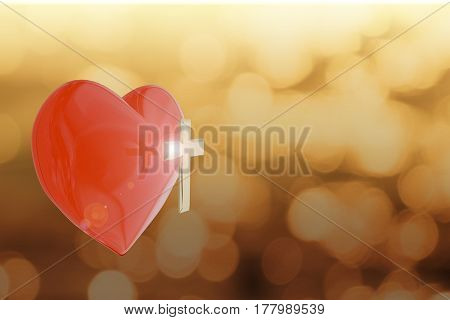 3D Rendering Of Heart With Golden Cross On Abstract Background With Copy Space