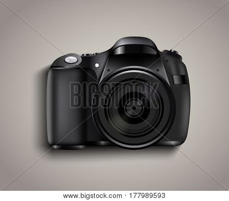 Realistic photo camera. Professional photo studio concept. Vector illustration